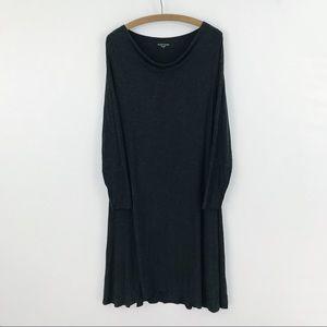 Eileen Fisher Gray Draped Long Sleeve Dress